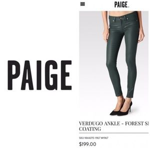NWT Paige Verugo Ankle Jeans Forest 🌳 Silk